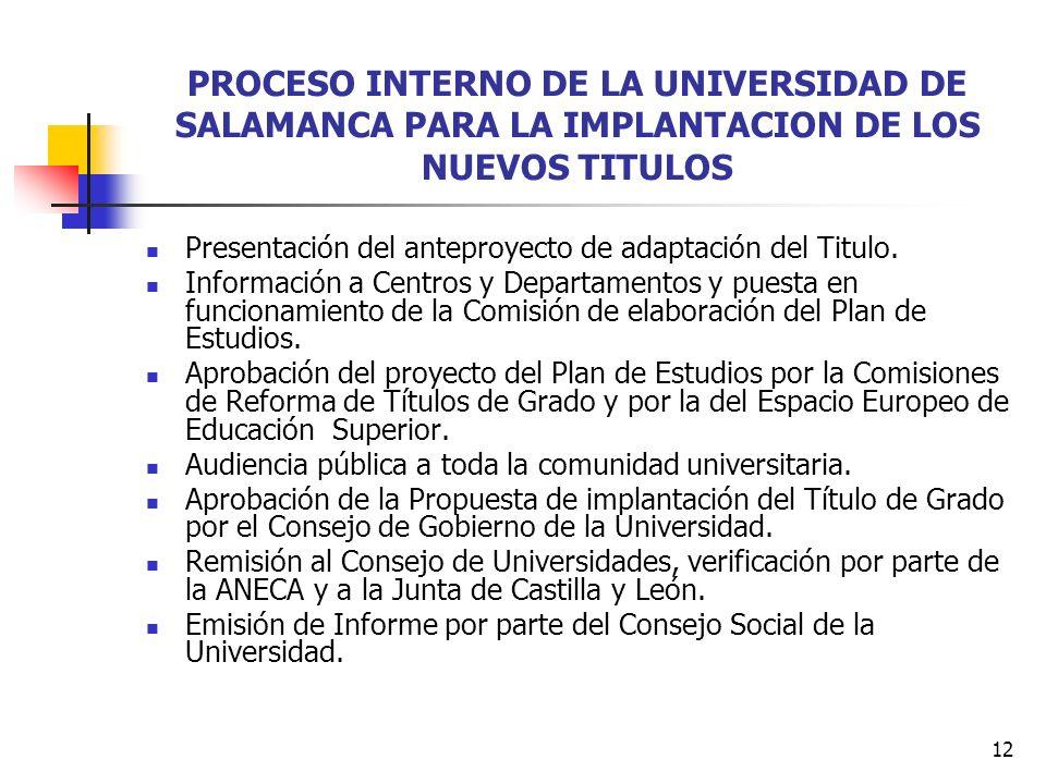 12 PROCESO INTERNO DE LA UNIVERSIDAD DE SALAMANCA PARA LA IMPLANTACION DE LOS NUEVOS TITULOS Presentación del anteproyecto de adaptación del Titulo.