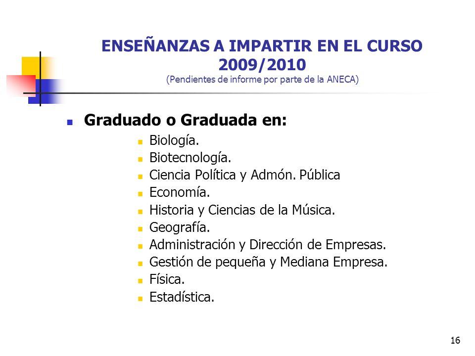 16 ENSEÑANZAS A IMPARTIR EN EL CURSO 2009/2010 (Pendientes de informe por parte de la ANECA) Graduado o Graduada en: Biología.