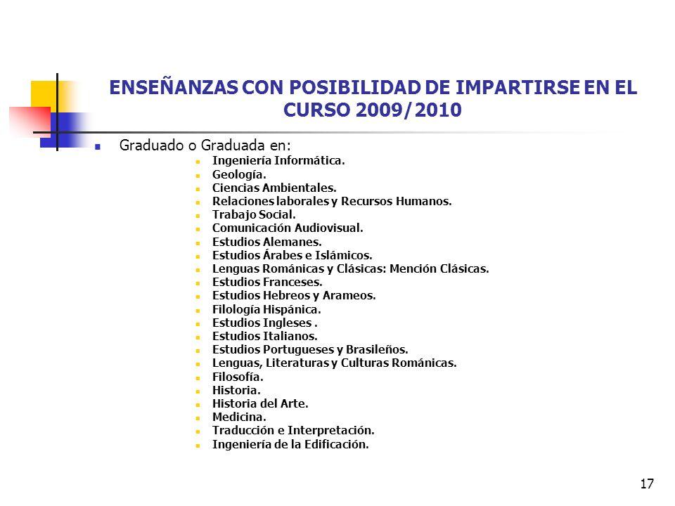 17 ENSEÑANZAS CON POSIBILIDAD DE IMPARTIRSE EN EL CURSO 2009/2010 Graduado o Graduada en: Ingeniería Informática.