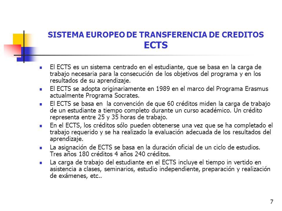 7 SISTEMA EUROPEO DE TRANSFERENCIA DE CREDITOS ECTS El ECTS es un sistema centrado en el estudiante, que se basa en la carga de trabajo necesaria para la consecución de los objetivos del programa y en los resultados de su aprendizaje.