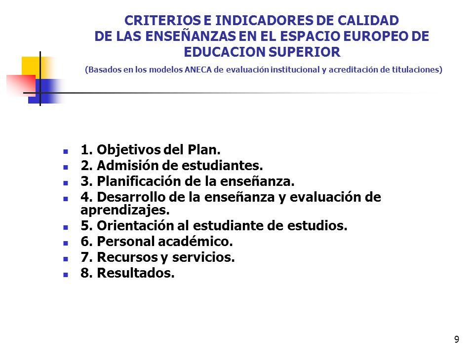 9 CRITERIOS E INDICADORES DE CALIDAD DE LAS ENSEÑANZAS EN EL ESPACIO EUROPEO DE EDUCACION SUPERIOR (Basados en los modelos ANECA de evaluación institucional y acreditación de titulaciones) 1.
