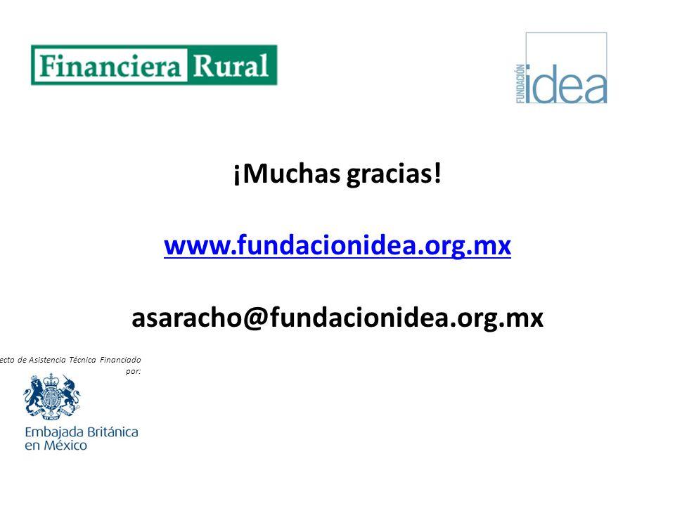 ¡Muchas gracias! www.fundacionidea.org.mx asaracho@fundacionidea.org.mx www.fundacionidea.org.mx Proyecto de Asistencia Técnica Financiado por: