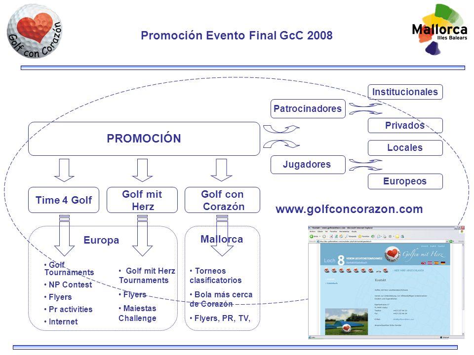 Promoción Evento Final GcC 2008 Jugadores Patrocinadores Locales Europeos Institucionales Privados Golf con Corazón PROMOCIÓN Time 4 Golf Golf mit Her