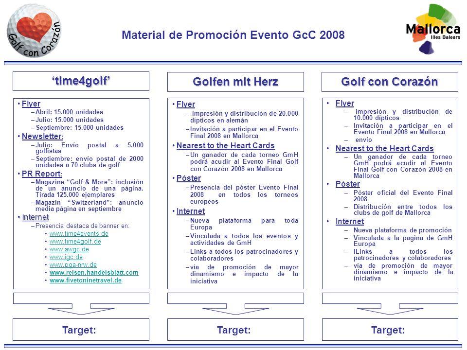 Material de Promoción Evento GcC 2008 Flyer –Abril: 15.000 unidades –Julio: 15.000 unidades –Septiembre: 15.000 unidades Newsletter : –Julio: Envío postal a 5.000 golfistas –Septiembre: envío postal de 2000 unidades a 70 clubs de golf PR Report : –Magazine Golf & More: inclusión de un anuncio de una página.