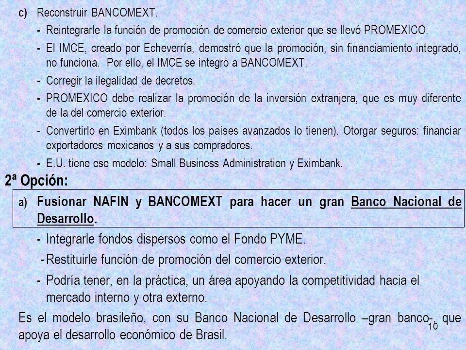 10 c) Reconstruir BANCOMEXT. - Reintegrarle la función de promoción de comercio exterior que se llevó PROMEXICO. - El IMCE, creado por Echeverría, dem
