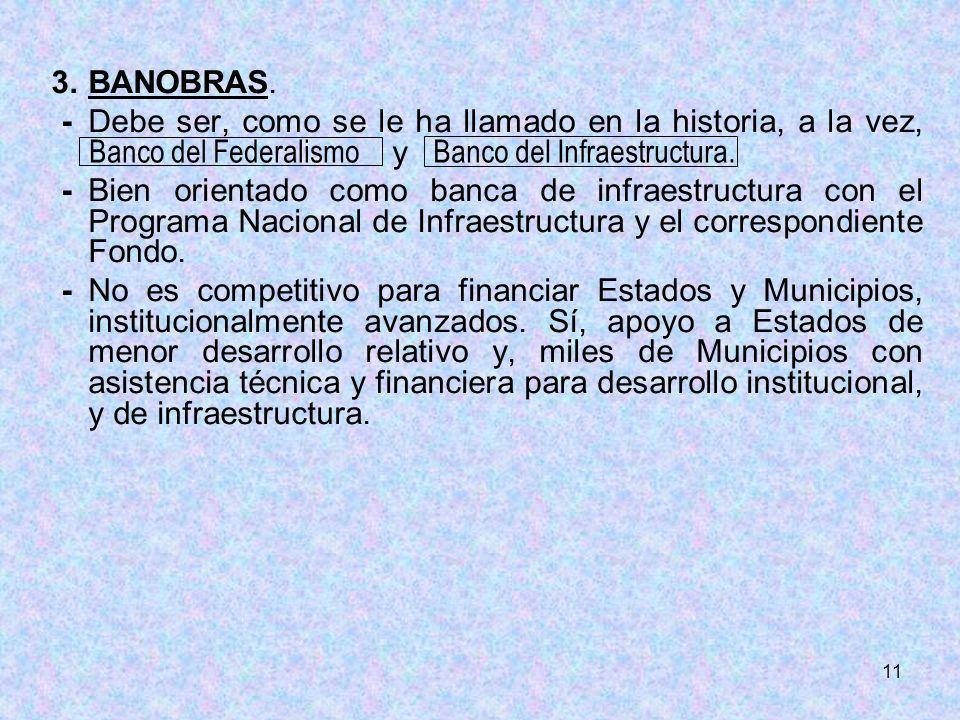 11 3.BANOBRAS. -Debe ser, como se le ha llamado en la historia, a la vez, y -Bien orientado como banca de infraestructura con el Programa Nacional de