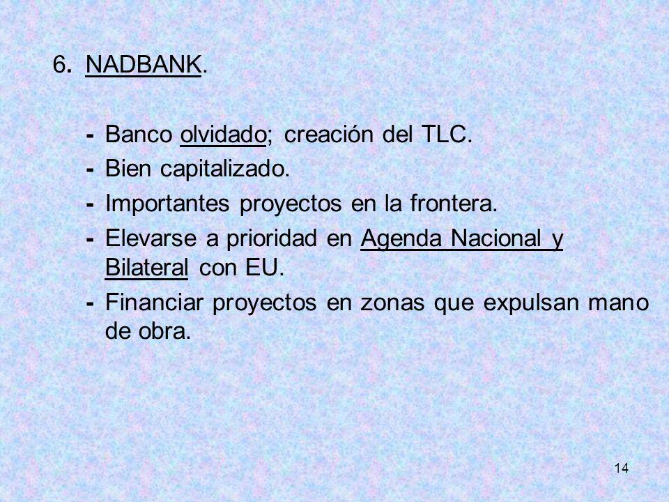 14 6.NADBANK. -Banco olvidado; creación del TLC. -Bien capitalizado. -Importantes proyectos en la frontera. -Elevarse a prioridad en Agenda Nacional y