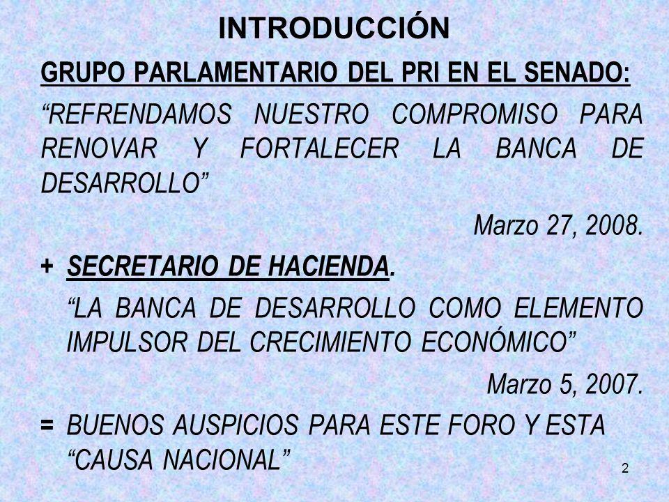 2 INTRODUCCIÓN GRUPO PARLAMENTARIO DEL PRI EN EL SENADO: REFRENDAMOS NUESTRO COMPROMISO PARA RENOVAR Y FORTALECER LA BANCA DE DESARROLLO Marzo 27, 200