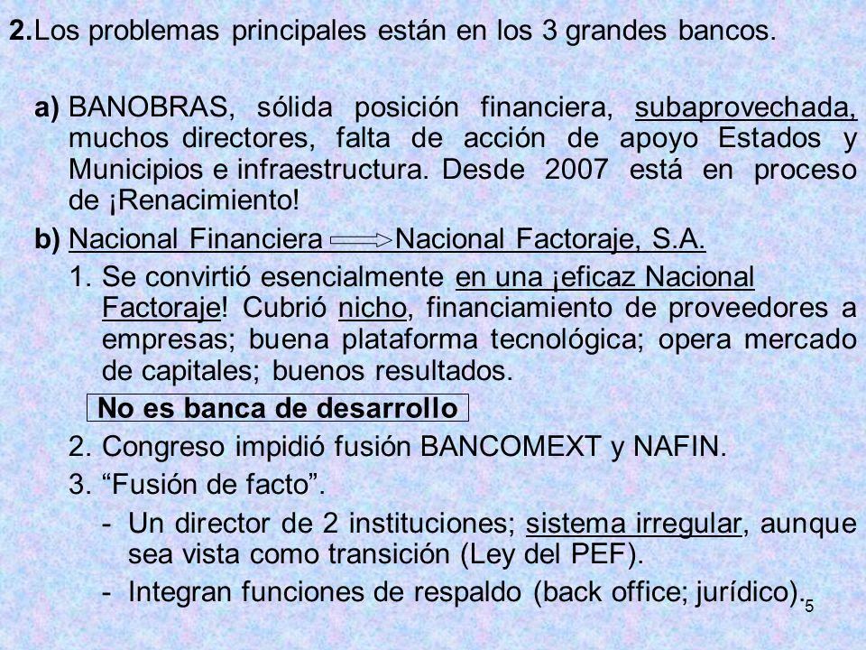 5 2.Los problemas principales están en los 3 grandes bancos. a)BANOBRAS, sólida posición financiera, subaprovechada, muchos directores, falta de acció