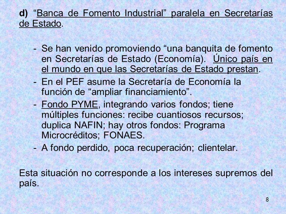 8 d)Banca de Fomento Industrial paralela en Secretarías de Estado. -Se han venido promoviendo una banquita de fomento en Secretarías de Estado (Econom