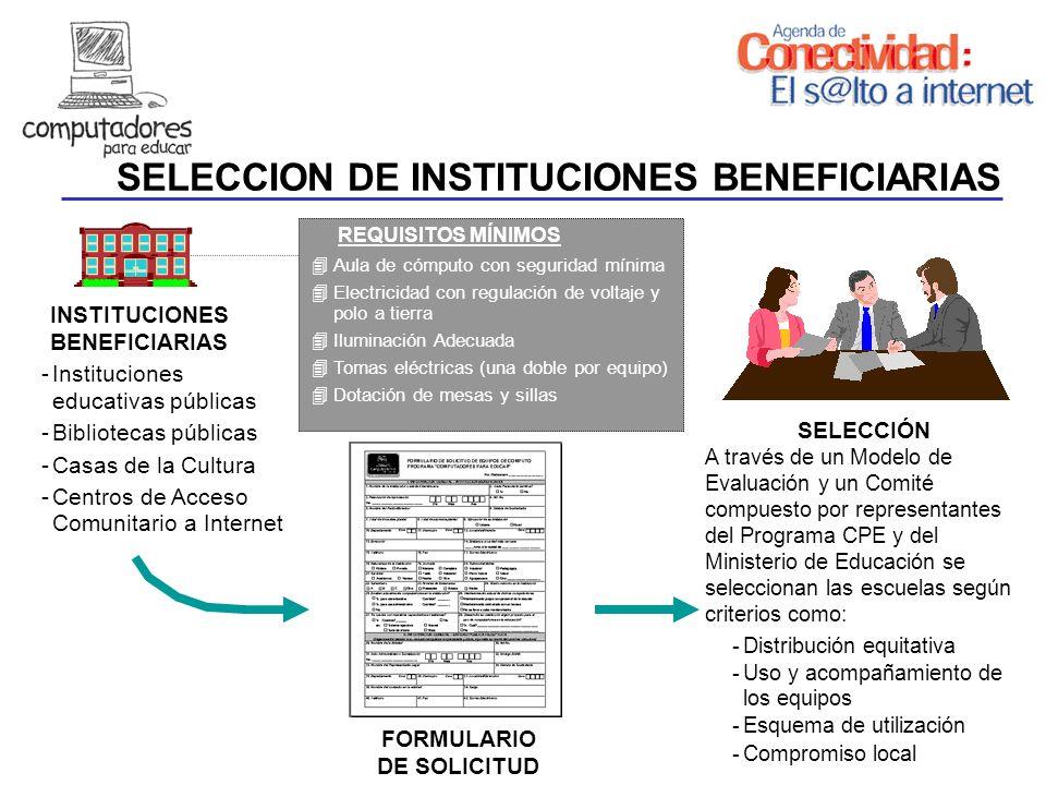 SELECCION DE INSTITUCIONES BENEFICIARIAS INSTITUCIONES BENEFICIARIAS -Instituciones educativas públicas -Bibliotecas públicas -Casas de la Cultura -Ce
