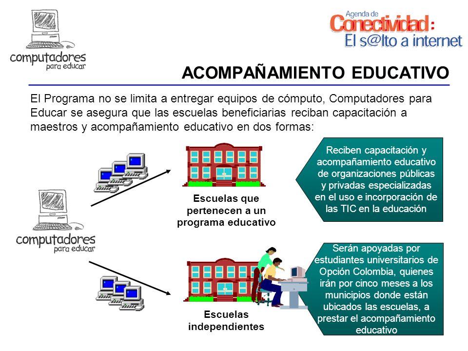 ACOMPAÑAMIENTO EDUCATIVO Escuelas que pertenecen a un programa educativo El Programa no se limita a entregar equipos de cómputo, Computadores para Edu