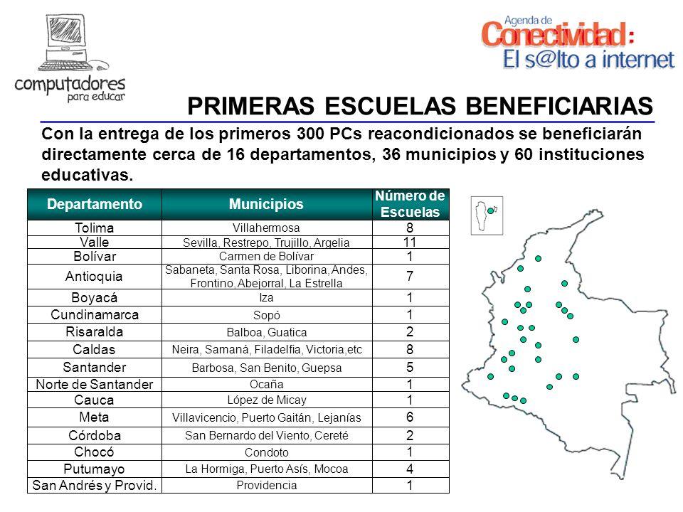 PRIMERAS ESCUELAS BENEFICIARIAS REQUISITOS MÍNIMOS DepartamentoMunicipios Número de Escuelas Con la entrega de los primeros 300 PCs reacondicionados s