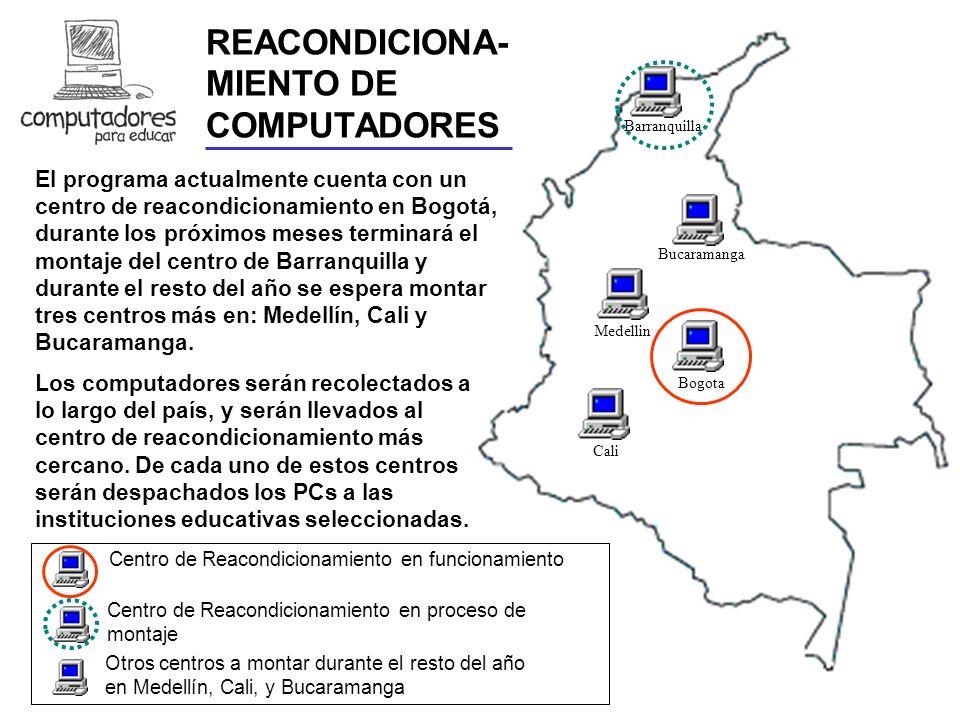 En la actualidad se cuenta con el primer Centro de Reacondicionamiento de computadores en la ciudad de Bogotá, cuyo montaje fue posible gracias al trabajo conjunto de la Cámara de Comercio de Bogotá, el SENA y el Programa CENTRO DE REACONDICIONAMIENTO DE BOGOTA Consecución y adaptación del espacio, pago arriendo, servicios públicos, y seguridad del Centro Dotación muebles y herramientas Compra estantería, montacargas, equipos e insumos; contratación de personal El Centro fue montado en Agosto del 2000, y oficialmente inaugurado por el Presidente y la Primera Dama en Noviembre del 2000.