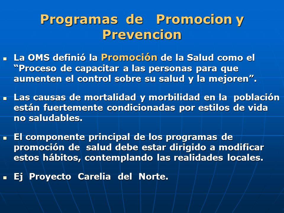 Programas de Promocion y Prevencion La OMS definió la Promoción de la Salud como el Proceso de capacitar a las personas para que aumenten el control s