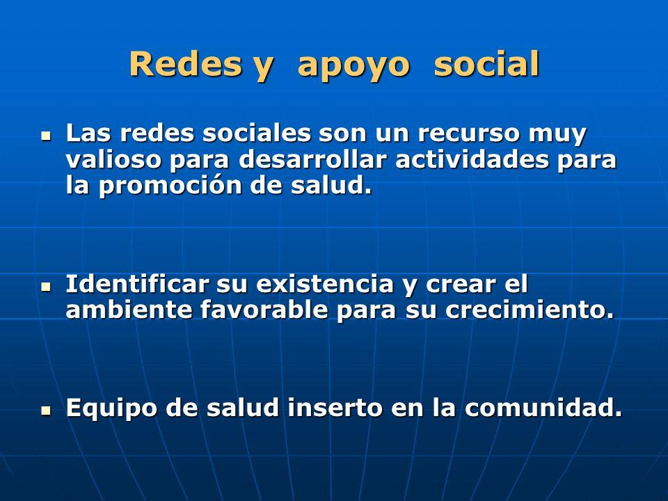 Redes y apoyo social Las redes sociales son un recurso muy valioso para desarrollar actividades para la promoción de salud. Las redes sociales son un