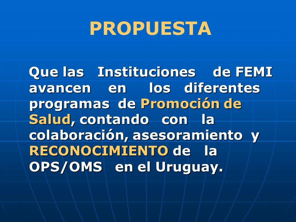 Que las Instituciones de FEMI avancen en los diferentes programas de Promoción de Salud, contando con la colaboración, asesoramiento y RECONOCIMIENTO