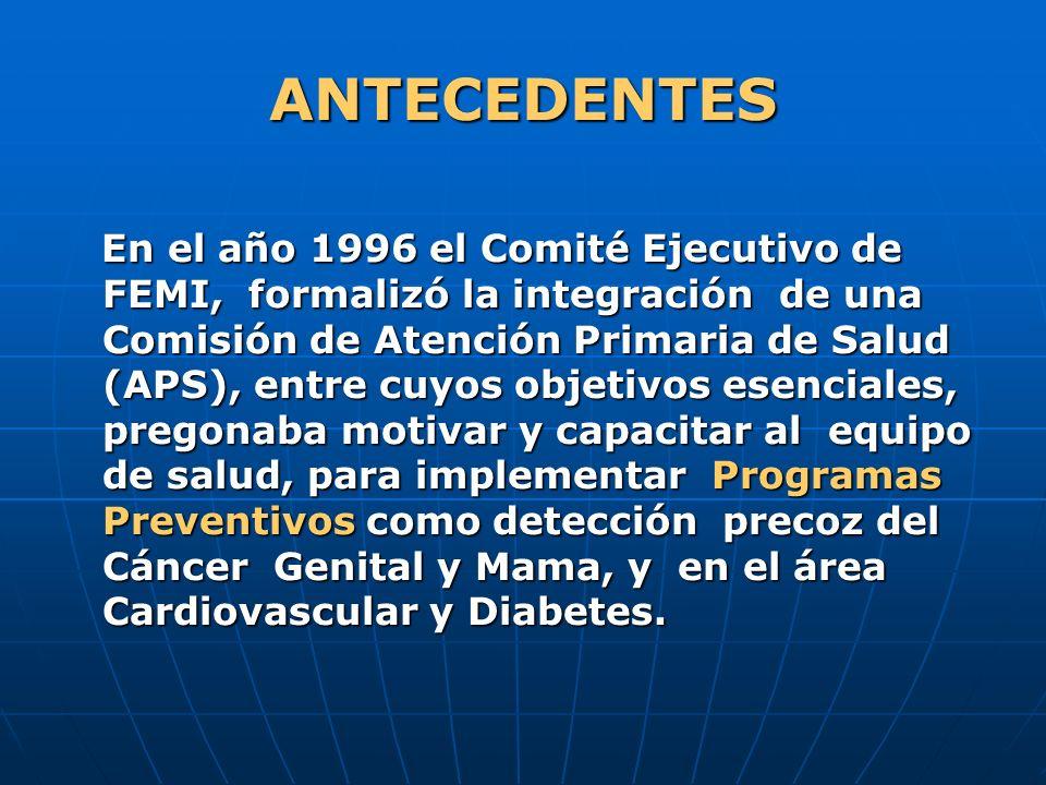 ANTECEDENTES En el año 1996 el Comité Ejecutivo de FEMI, formalizó la integración de una Comisión de Atención Primaria de Salud (APS), entre cuyos obj