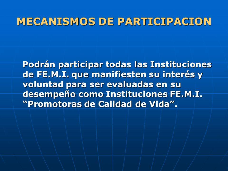MECANISMOS DE PARTICIPACION Podrán participar todas las Instituciones de FE.M.I. que manifiesten su interés y voluntad para ser evaluadas en su desemp