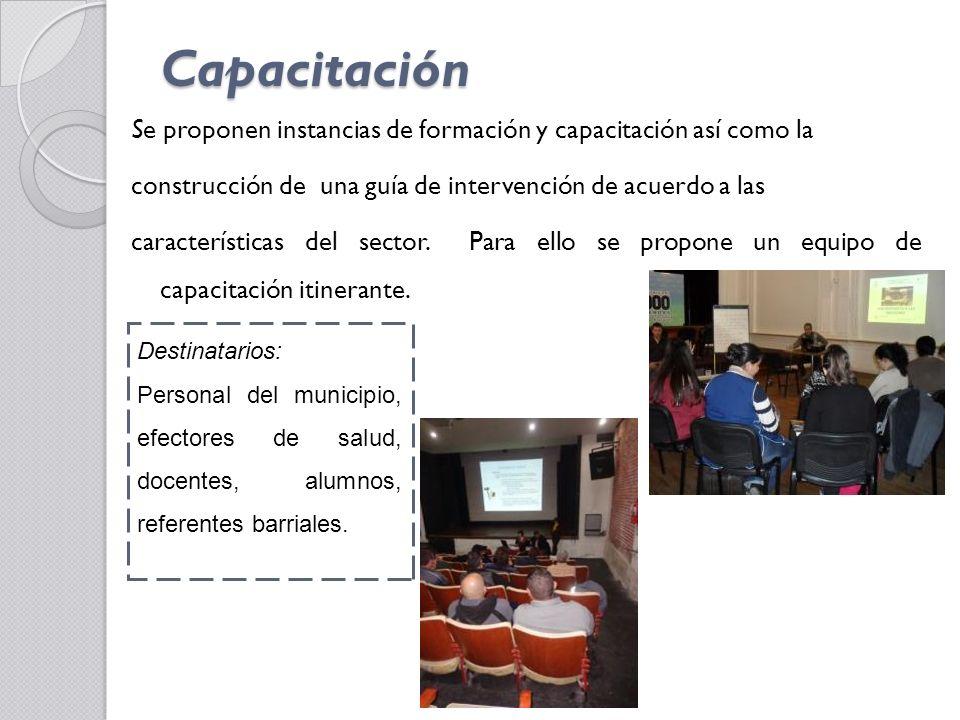 Capacitación Se proponen instancias de formación y capacitación así como la construcción de una guía de intervención de acuerdo a las características del sector.