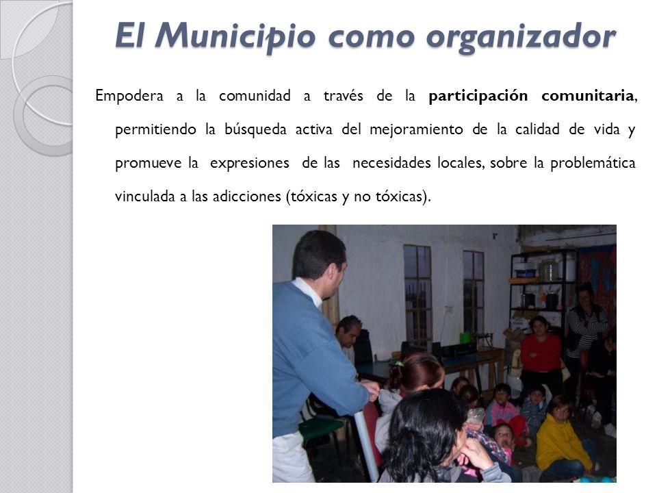 El Municipio como organizador Propicia el encuentro y la complementariedad de los actores sociales como sujetos que coprotagonizan las acciones de promoción y prevención desde sus respectivos ámbitos sociales: la escuela, la familia, la parroquia, el dispensario, la empresa, los centros comunitarios.