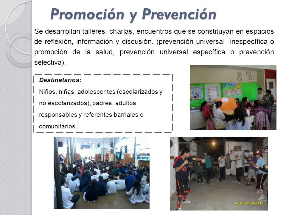 Promoción y Prevención Destinatarios: Niños, niñas, adolescentes (escolarizados y no escolarizados), padres, adultos responsables y referentes barriales o comunitarios.