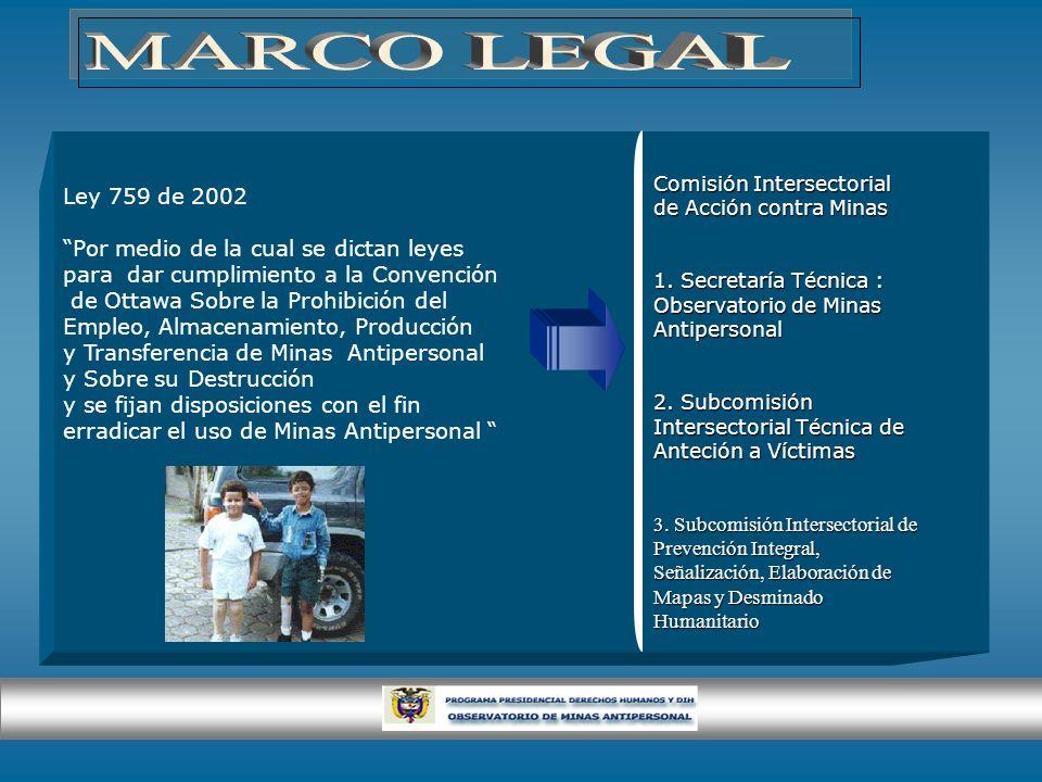 Ley 759 de 2002 Por medio de la cual se dictan leyes para dar cumplimiento a la Convención de Ottawa Sobre la Prohibición del Empleo, Almacenamiento,