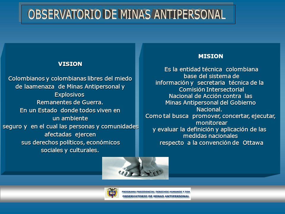 VISION Colombianos y colombianas libres del miedo de laamenaza de Minas Antipersonal y de laamenaza de Minas Antipersonal yExplosivos Remanentes de Gu