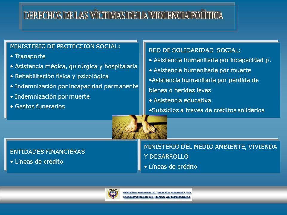 MINISTERIO DE PROTECCIÓN SOCIAL: Transporte Asistencia médica, quirúrgica y hospitalaria Rehabilitación física y psicológica Indemnización por incapac