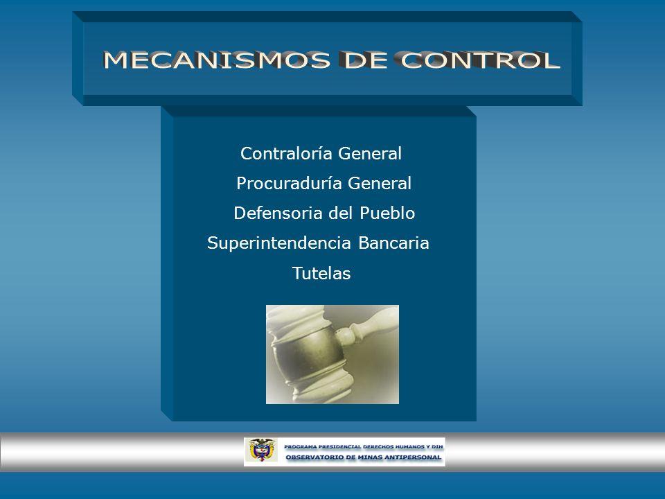 Contraloría General Procuraduría General Defensoria del Pueblo Superintendencia Bancaria Tutelas