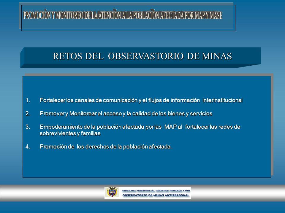 RETOS DEL OBSERVASTORIO DE MINAS 1.Fortalecer los canales de comunicación y el flujos de información interinstitucional 2.Promover y Monitorear el acc
