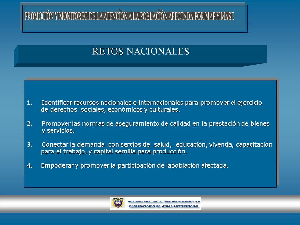 RETOS RETOS NACIONALES 1.Identificar recursos nacionales e internacionales para promover el ejercicio de derechos sociales, económicos y culturales. d