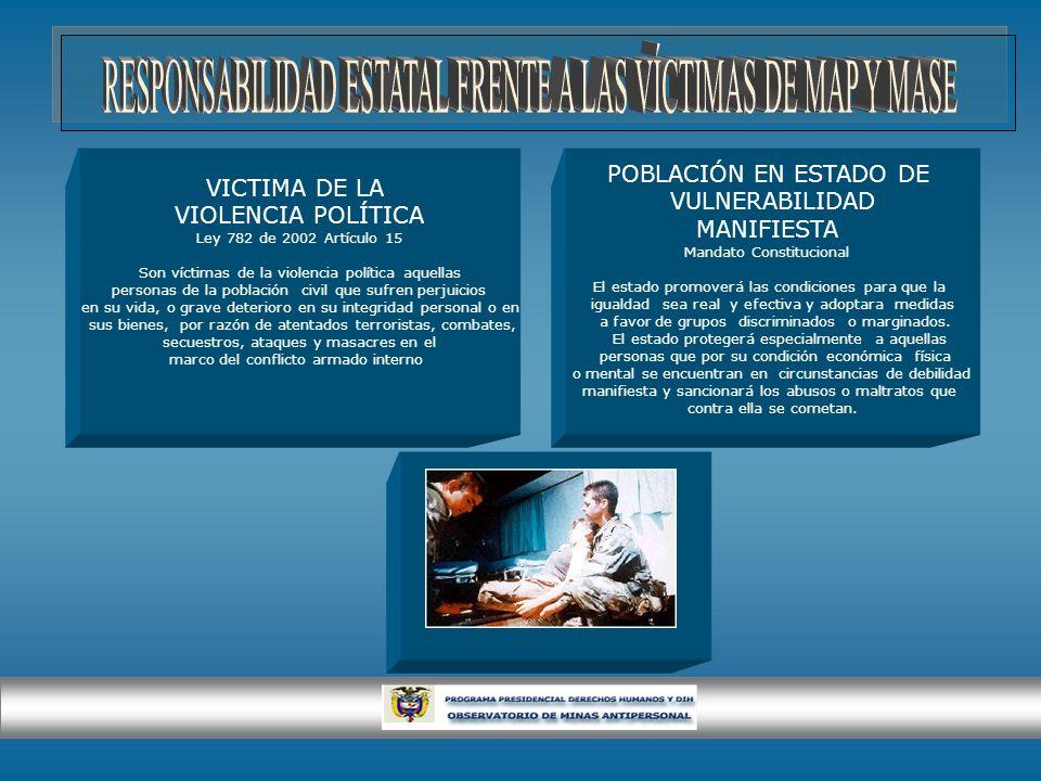 VICTIMA DE LA VIOLENCIA POLÍTICA Ley 782 de 2002 Artículo 15 Son víctimas de la violencia política aquellas personas de la población civil que sufren