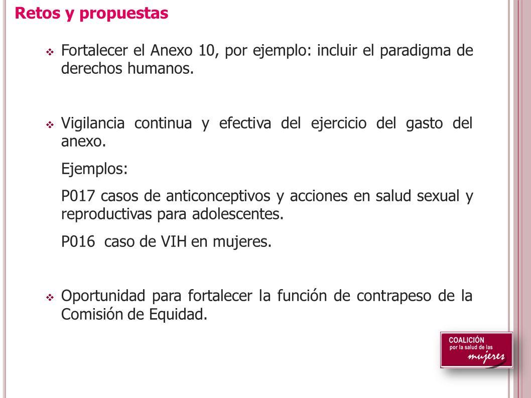 Fortalecer el Anexo 10, por ejemplo: incluir el paradigma de derechos humanos.