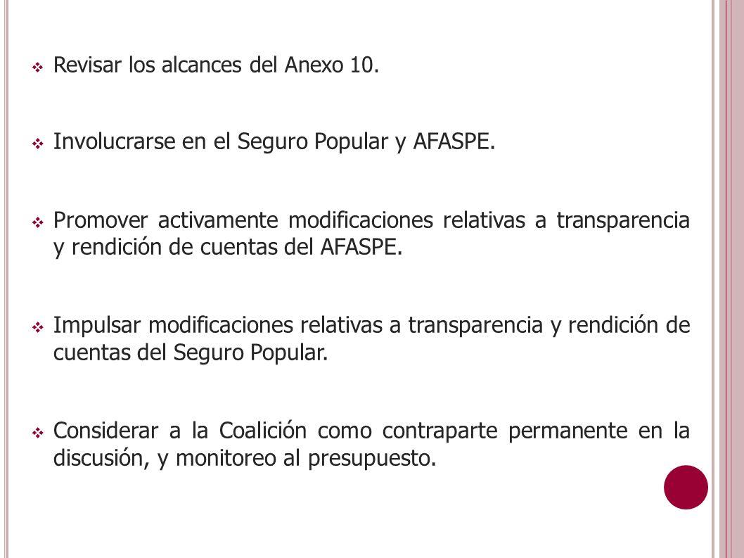 Revisar los alcances del Anexo 10. Involucrarse en el Seguro Popular y AFASPE.