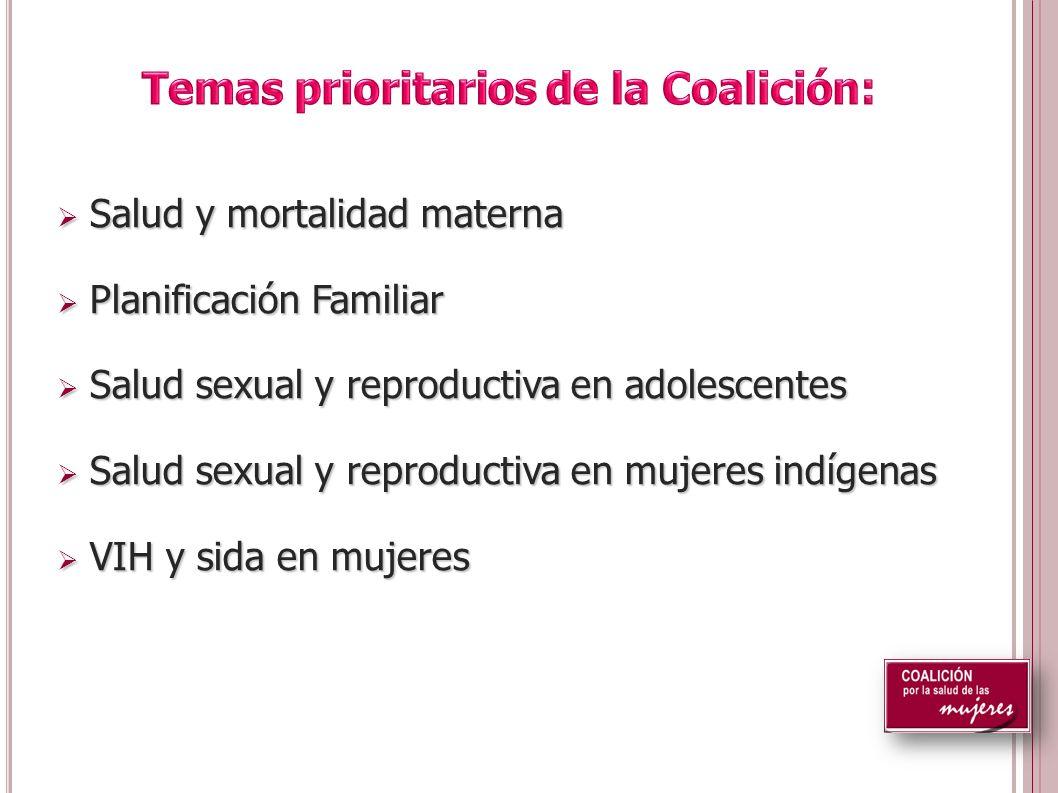 Salud y mortalidad materna Salud y mortalidad materna Planificación Familiar Planificación Familiar Salud sexual y reproductiva en adolescentes Salud sexual y reproductiva en adolescentes Salud sexual y reproductiva en mujeres indígenas Salud sexual y reproductiva en mujeres indígenas VIH y sida en mujeres VIH y sida en mujeres
