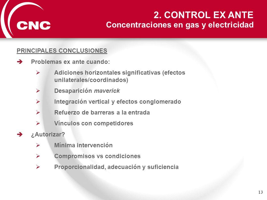 13 2. CONTROL EX ANTE Concentraciones en gas y electricidad PRINCIPALES CONCLUSIONES Problemas ex ante cuando: Adiciones horizontales significativas (
