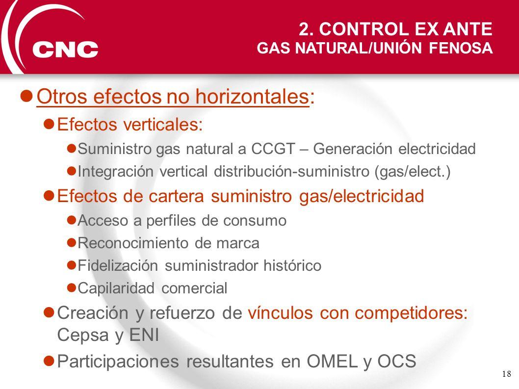 18 Otros efectos no horizontales: Efectos verticales: Suministro gas natural a CCGT – Generación electricidad Integración vertical distribución-sumini