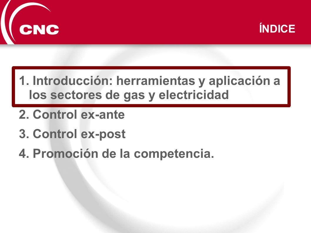 ÍNDICE 1. Introducción: herramientas y aplicación a los sectores de gas y electricidad 2. Control ex-ante 3. Control ex-post 4. Promoción de la compet