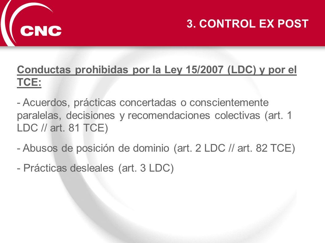 Conductas prohibidas por la Ley 15/2007 (LDC) y por el TCE: - Acuerdos, prácticas concertadas o conscientemente paralelas, decisiones y recomendacione