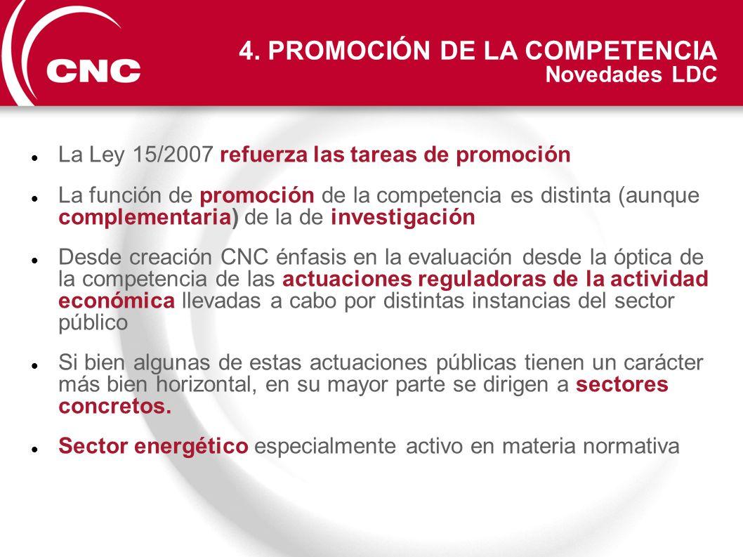 La Ley 15/2007 refuerza las tareas de promoción La función de promoción de la competencia es distinta (aunque complementaria) de la de investigación D