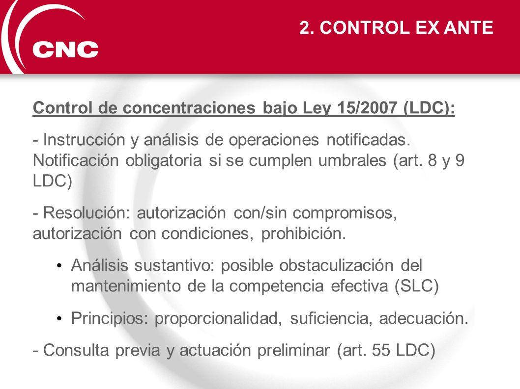 Control de concentraciones bajo Ley 15/2007 (LDC): - Instrucción y análisis de operaciones notificadas. Notificación obligatoria si se cumplen umbrale