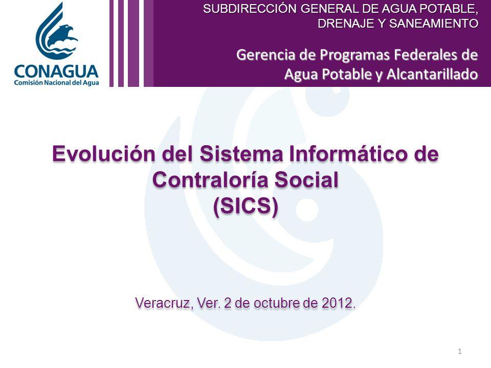 Gerencia de Programas Federales de Agua Potable y Alcantarillado Evolución del Sistema Informático de Contraloría Social (SICS) Veracruz, Ver.