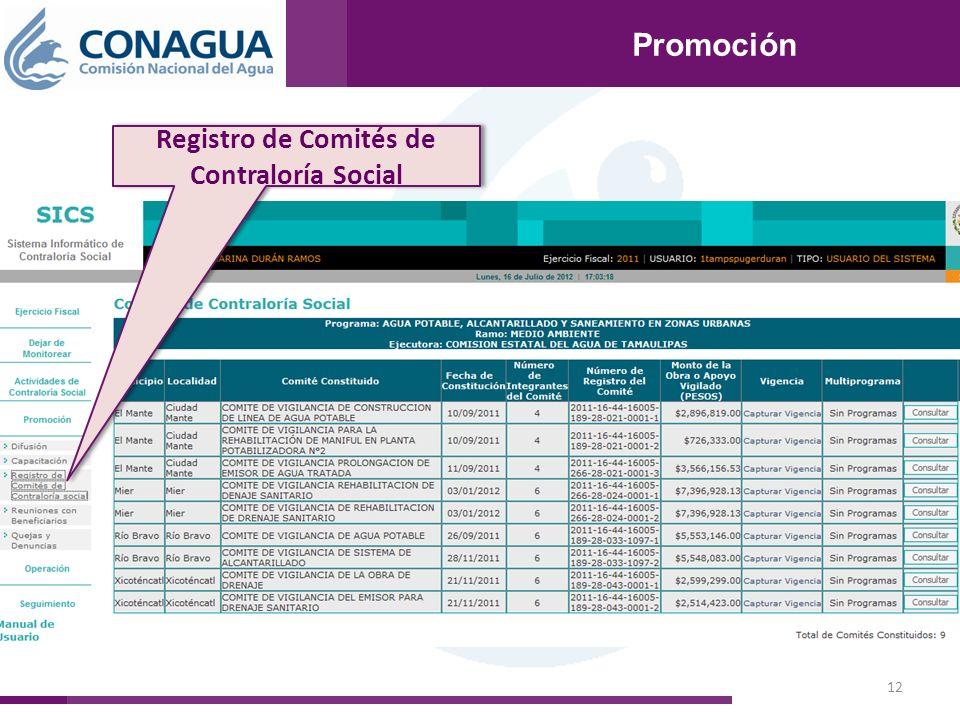 12 Promoción Registro de Comités de Contraloría Social