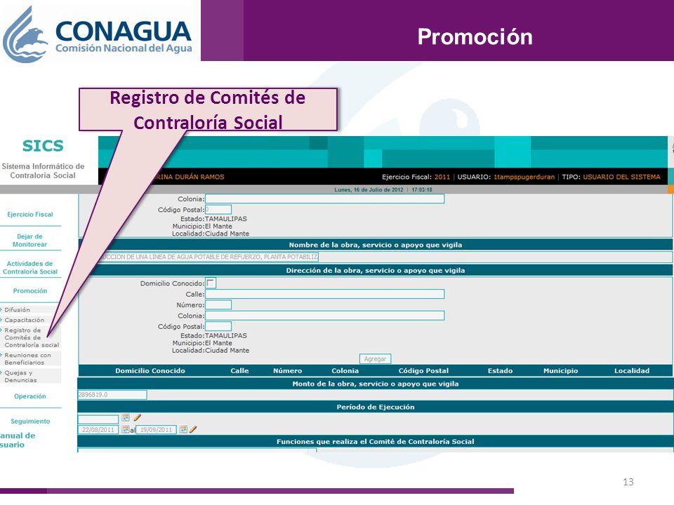 13 Promoción Registro de Comités de Contraloría Social