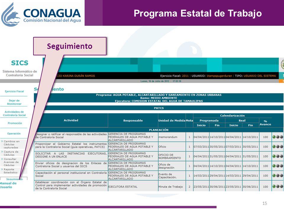 15 Programa Estatal de Trabajo Seguimiento