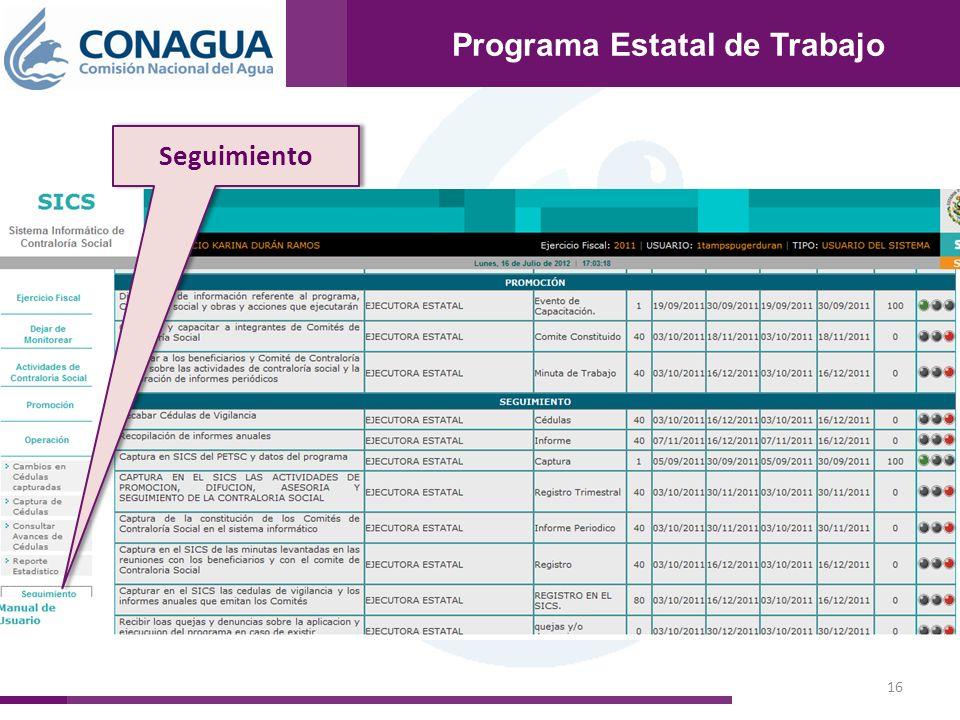 16 Programa Estatal de Trabajo Seguimiento