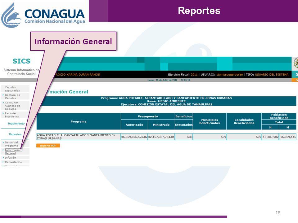 18 Reportes Información General Reportes