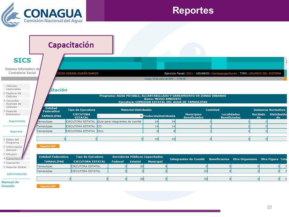 20 Reportes Capacitación Reportes