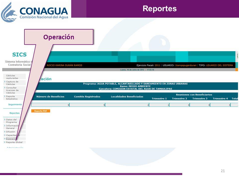 21 Reportes Operación Reportes